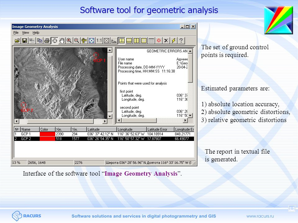 Software tool for geometric analysis Interface of the software tool Image Geometry Analysis .