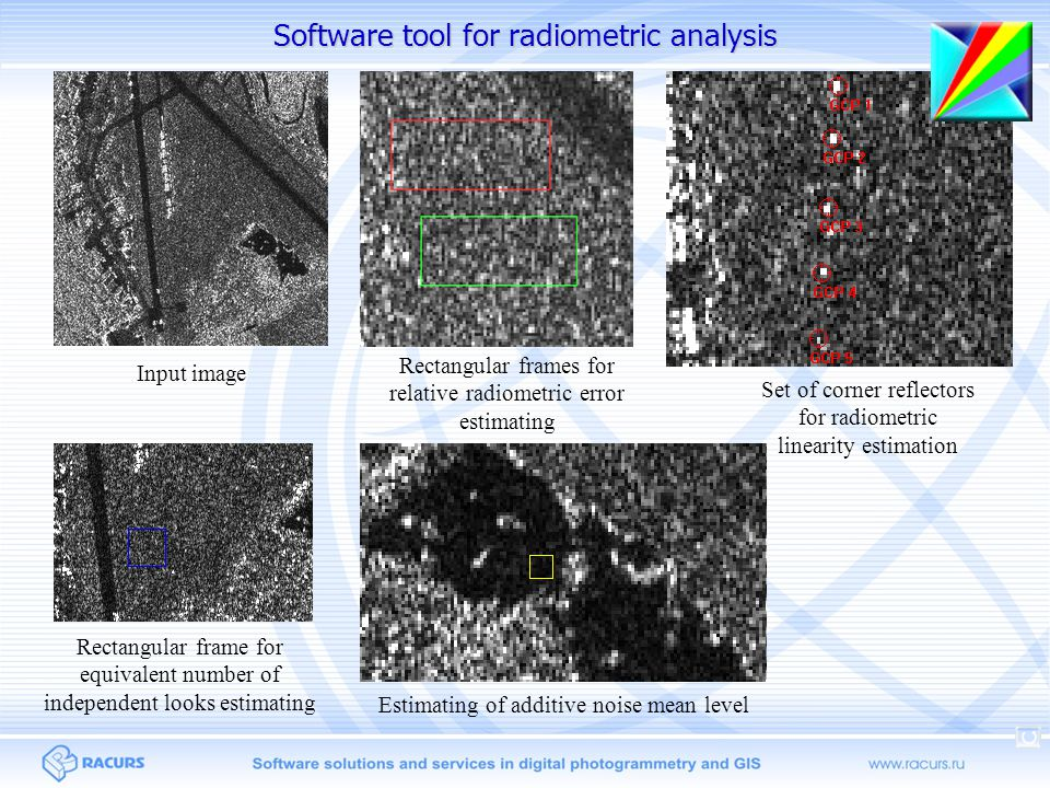 Software tool for radiometric analysis Set of corner reflectors for radiometric linearity estimation Rectangular frame for equivalent number of independent looks estimating Rectangular frames for relative radiometric error estimating Input image Estimating of additive noise mean level