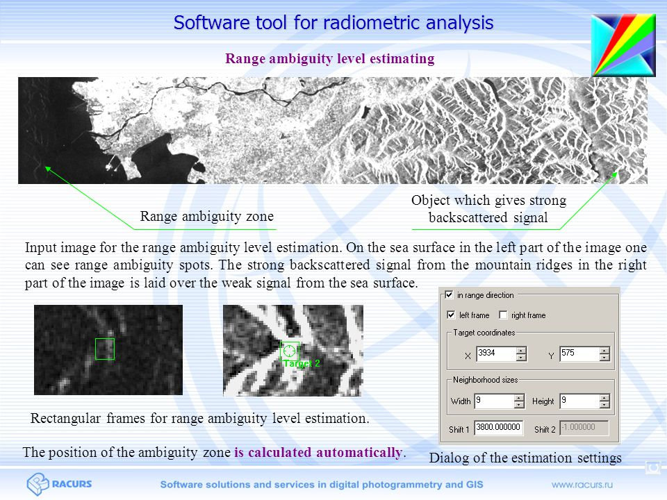 Software tool for radiometric analysis Range ambiguity zone Object which gives strong backscattered signal Input image for the range ambiguity level estimation.