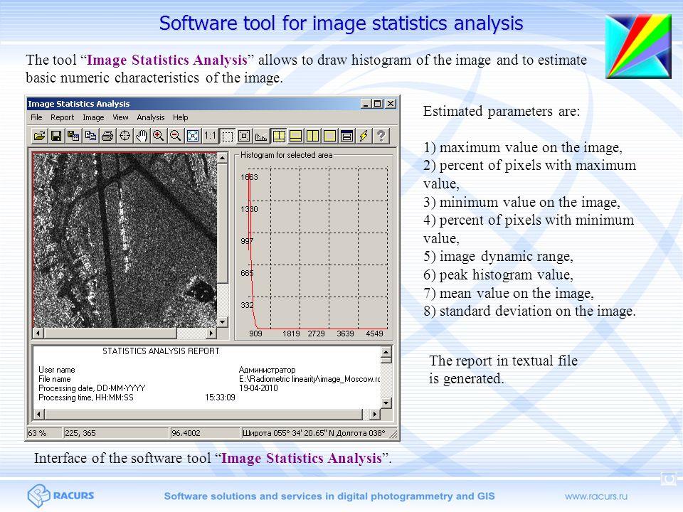 Software tool for image statistics analysis Estimated parameters are: 1) maximum value on the image, 2) percent of pixels with maximum value, 3) minim