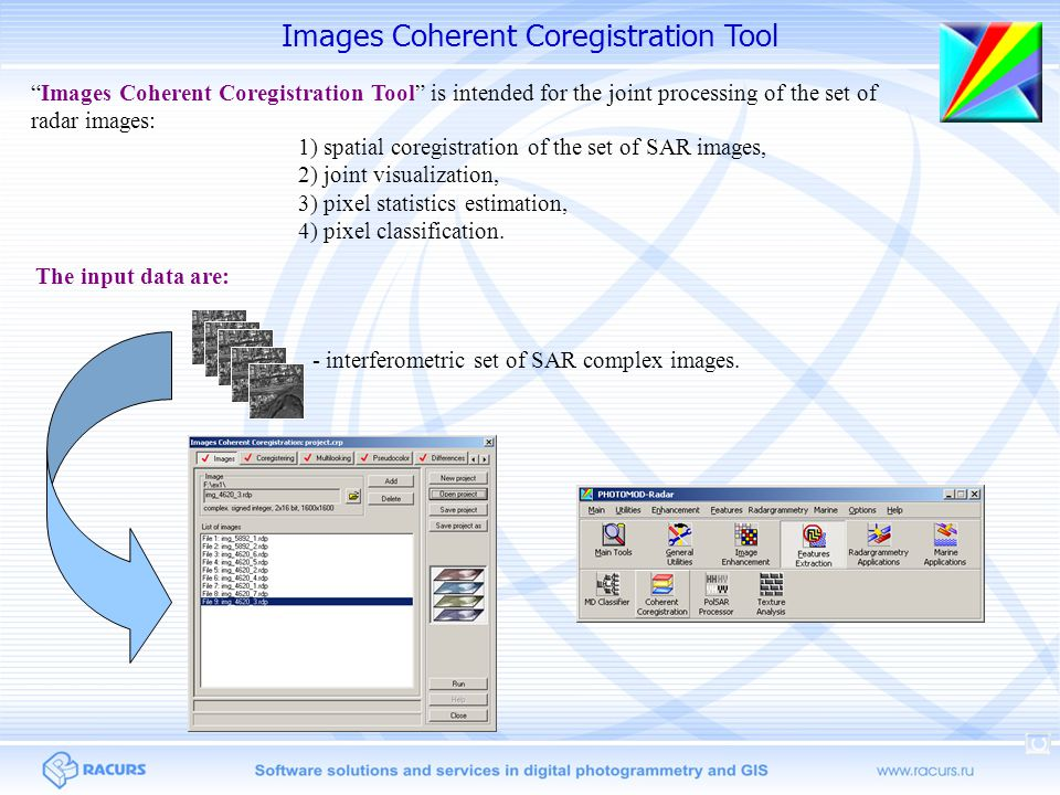 Images Coherent Coregistration Tool 1) spatial coregistration of the set of SAR images, 2) joint visualization, 3) pixel statistics estimation, 4) pixel classification.