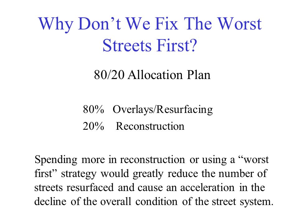 Why Don't We Fix The Worst Streets First.