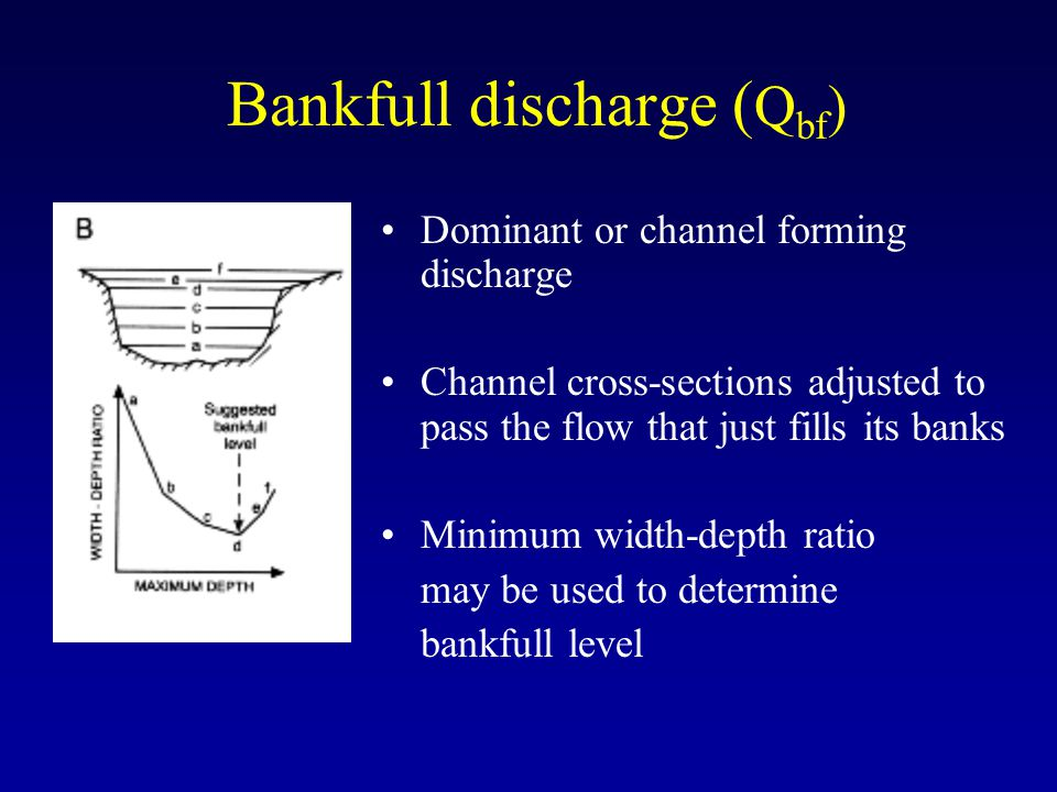 Bankfull discharge ( Q bf ) Dominant or channel forming discharge Channel cross-sections adjusted to pass the flow that just fills its banks Minimum w
