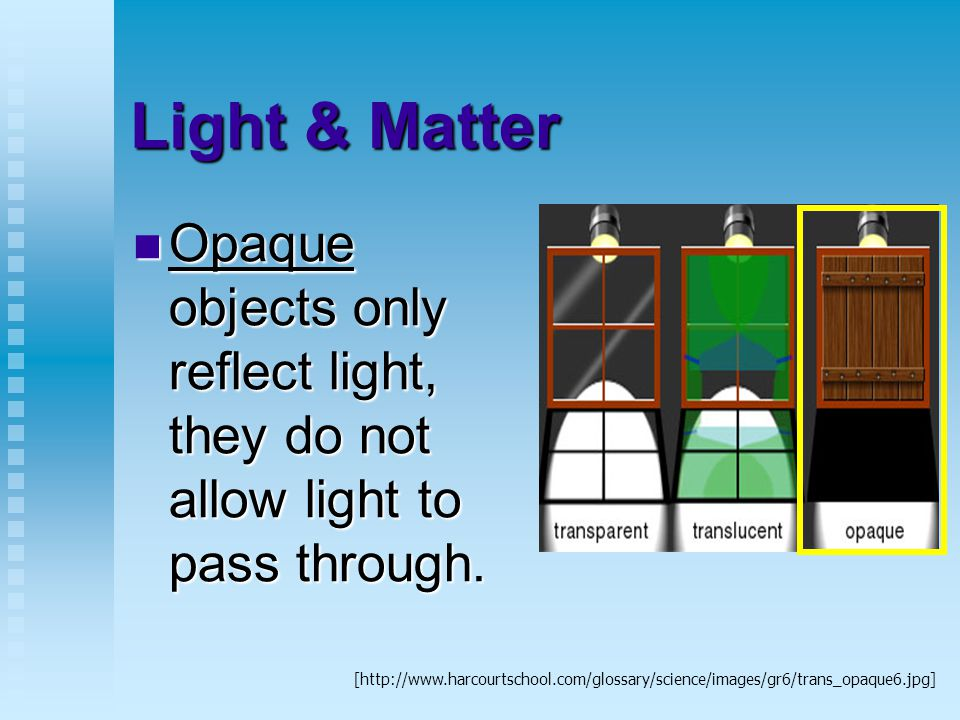Light & Matter Opaque objects only reflect light, they do not allow light to pass through.
