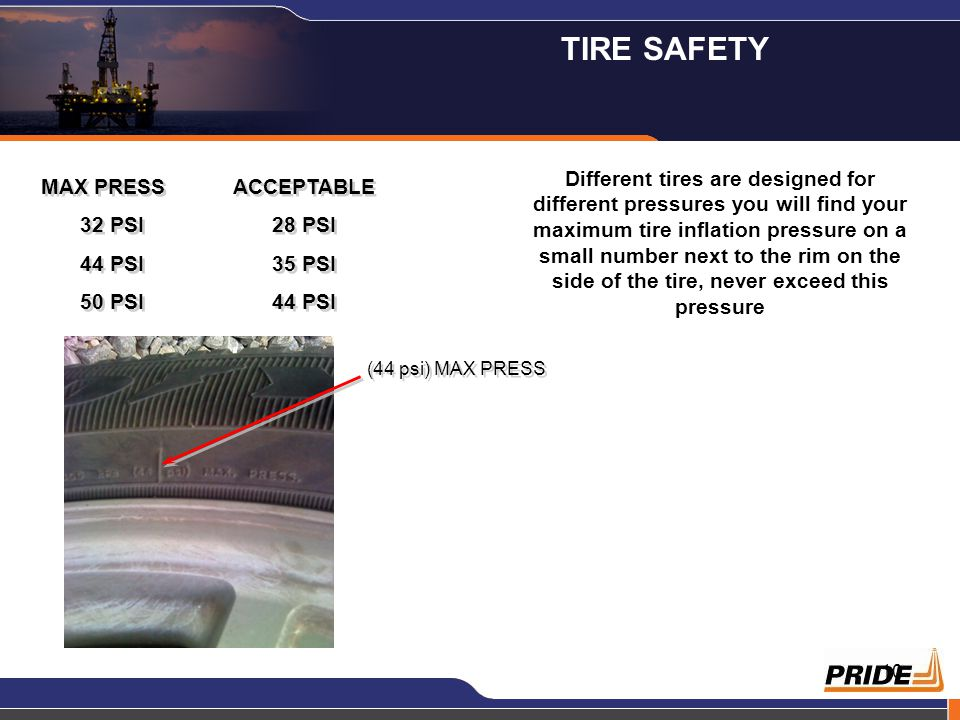 10 MAX PRESSACCEPTABLE 32 PSI28 PSI 44 PSI35 PSI 50 PSI44 PSI MAX PRESSACCEPTABLE 32 PSI28 PSI 44 PSI35 PSI 50 PSI44 PSI Different tires are designed for different pressures you will find your maximum tire inflation pressure on a small number next to the rim on the side of the tire, never exceed this pressure (44 psi) MAX PRESS TIRE SAFETY