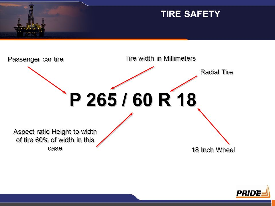 17 P 265 / 60 R 18 Passenger car tire Tire width in Millimeters Radial Tire Aspect ratio Height to width of tire 60% of width in this case 18 Inch Whe