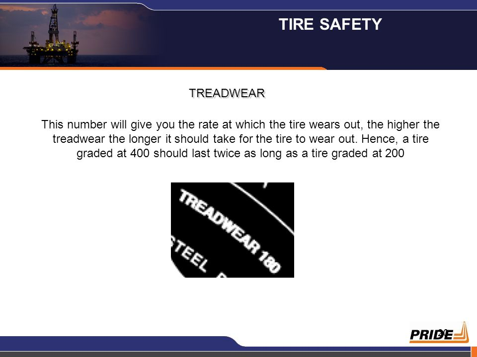 20 TREADWEAR This number will give you the rate at which the tire wears out, the higher the treadwear the longer it should take for the tire to wear o