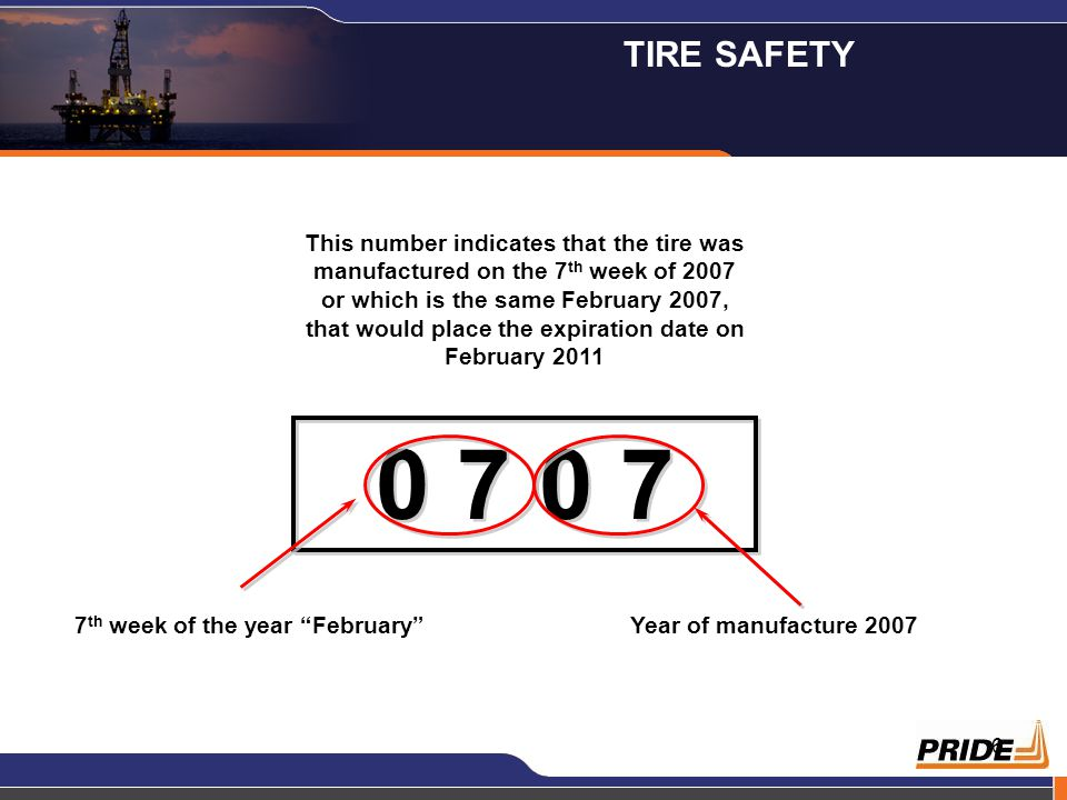 6 This number indicates that the tire was manufactured on the 7 th week of 2007 or which is the same February 2007, that would place the expiration da