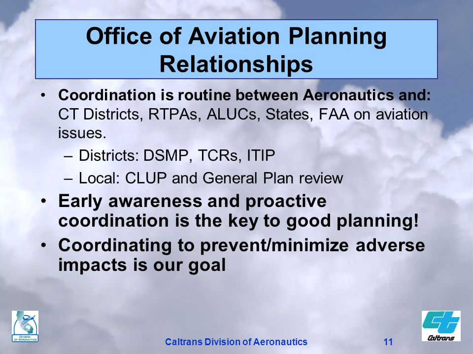 11Caltrans Division of Aeronautics Office of Aviation Planning Relationships Coordination is routine between Aeronautics and: CT Districts, RTPAs, ALUCs, States, FAA on aviation issues.
