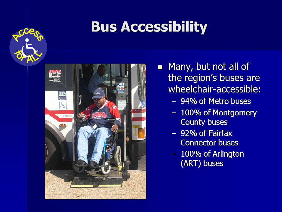 Bus Accessibility Many, but not all of the region's buses are wheelchair-accessible: Many, but not all of the region's buses are wheelchair-accessible: –94% of Metro buses –100% of Montgomery County buses –92% of Fairfax Connector buses –100% of Arlington (ART) buses