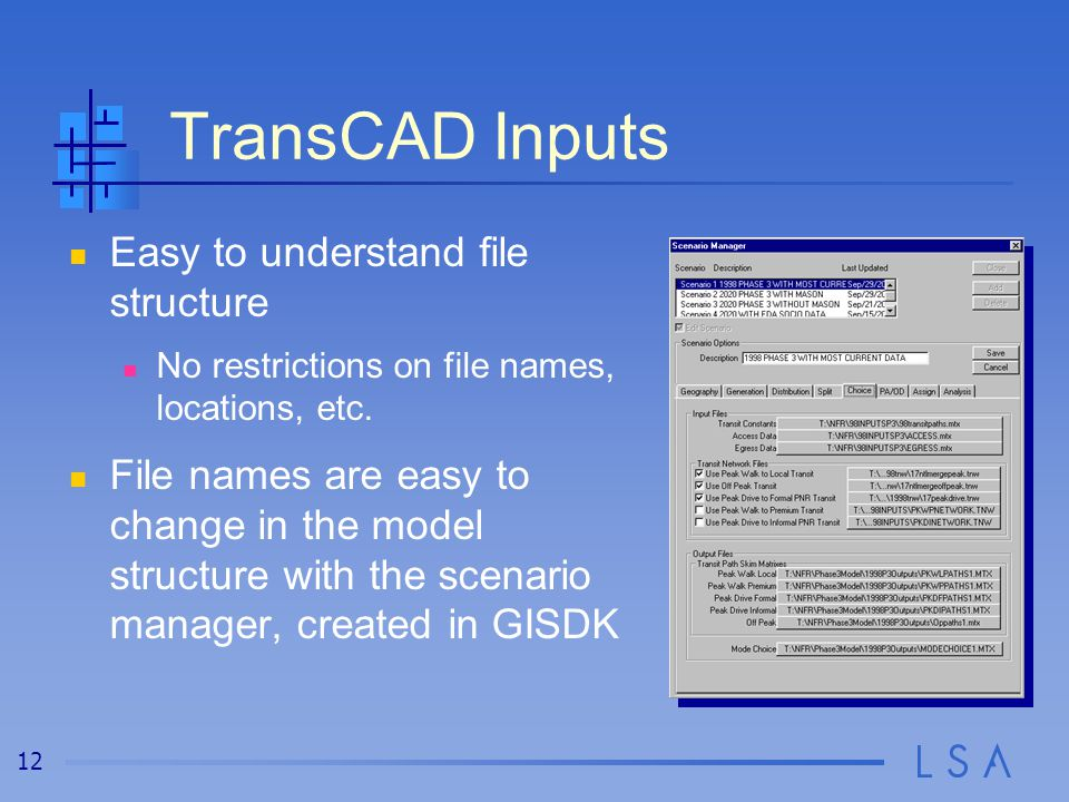 12 TransCAD Inputs Easy to understand file structure No restrictions on file names, locations, etc. File names are easy to change in the model structu