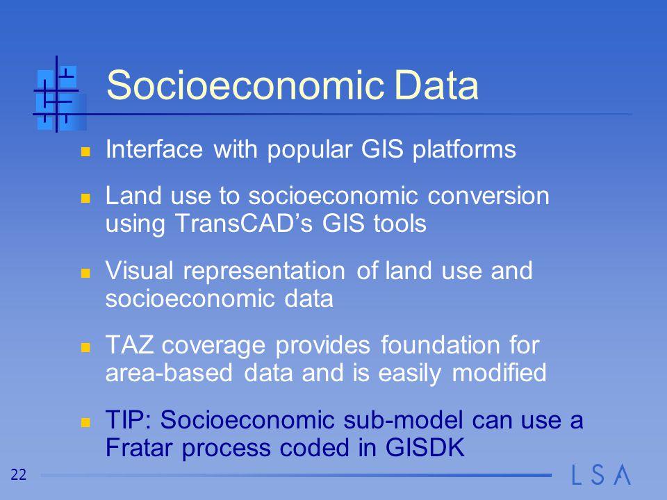 22 Socioeconomic Data Interface with popular GIS platforms Land use to socioeconomic conversion using TransCAD's GIS tools Visual representation of la