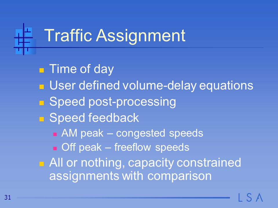 31 Traffic Assignment Time of day User defined volume-delay equations Speed post-processing Speed feedback AM peak – congested speeds Off peak – freef