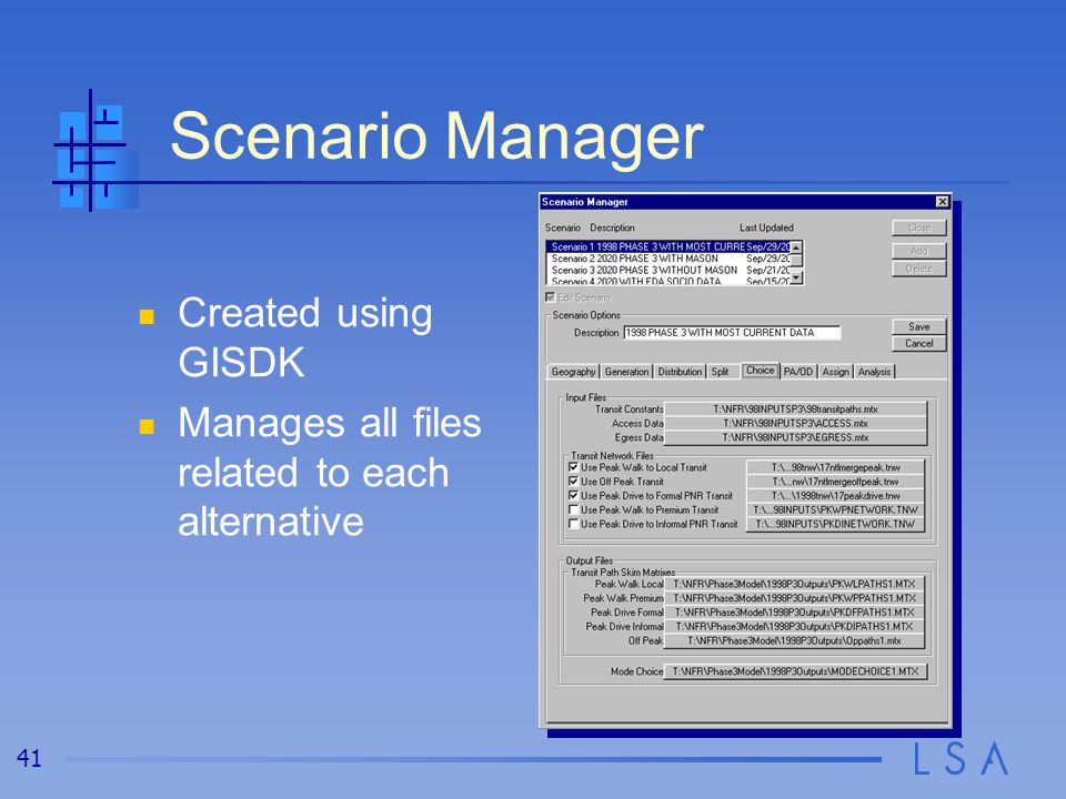 41 Scenario Manager Created using GISDK Manages all files related to each alternative