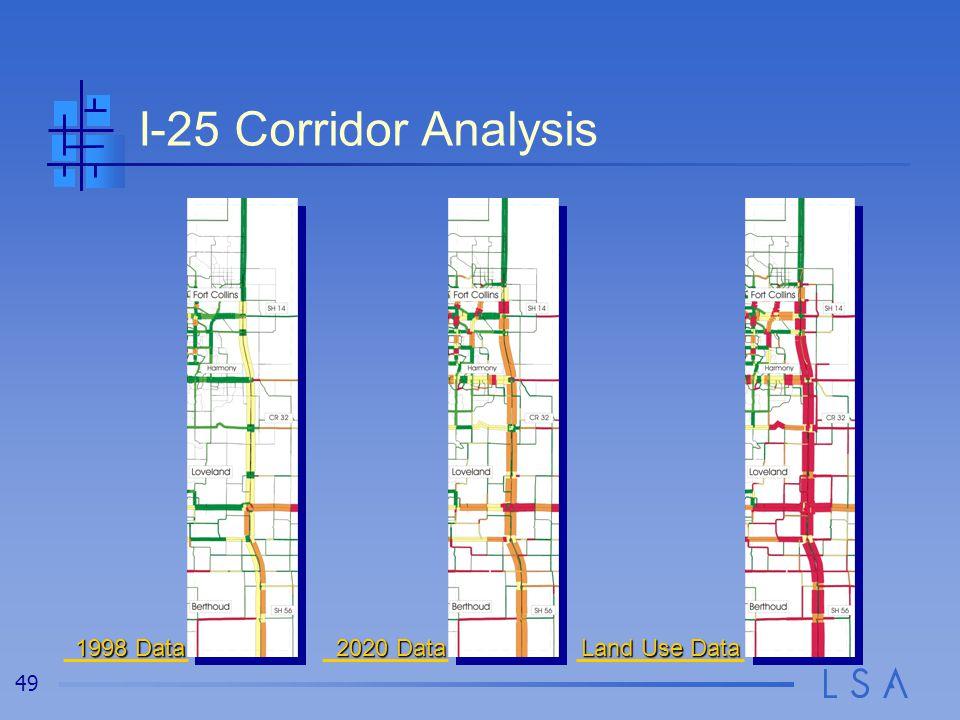 49 I-25 Corridor Analysis 1998 Data 2020 Data Land Use Data
