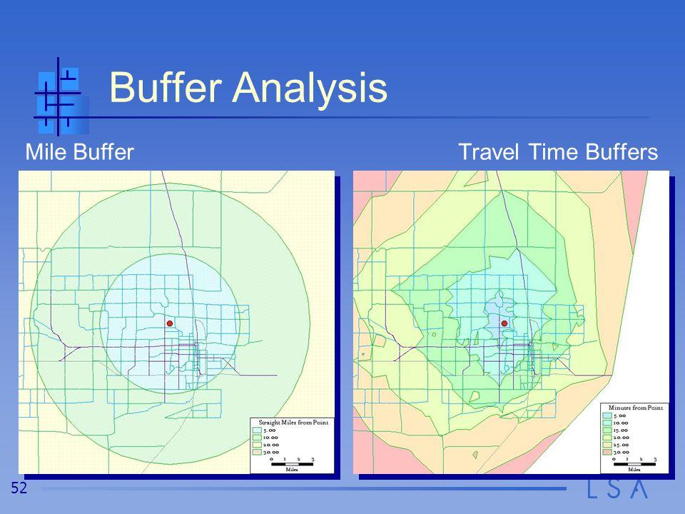 52 Buffer Analysis Mile BufferTravel Time Buffers