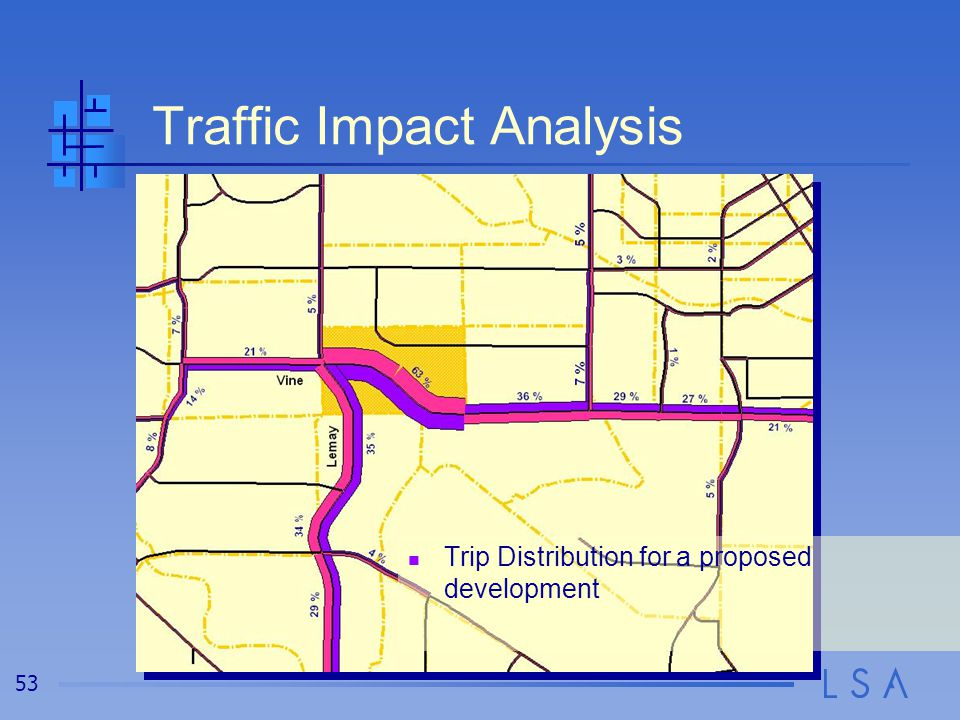 53 Traffic Impact Analysis Trip Distribution for a proposed development