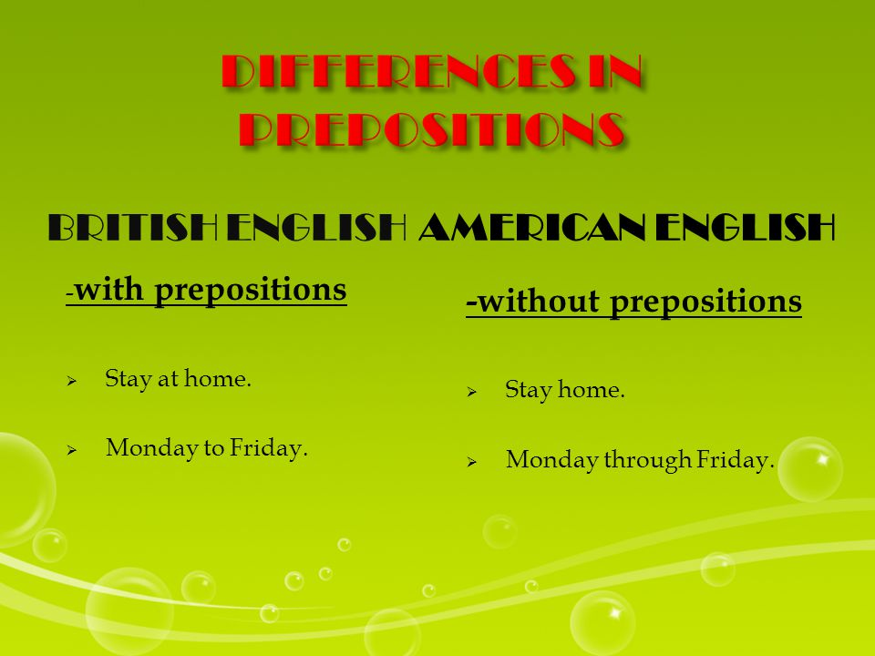 BRITISH ENGLISHAMERICAN ENGLISH - with prepositions  Stay at home.