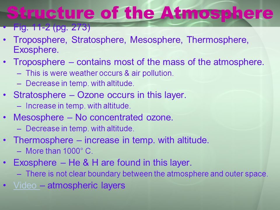 Structure of the Atmosphere Fig. 11-2 (pg. 273) Troposphere, Stratosphere, Mesosphere, Thermosphere, Exosphere. Troposphere – contains most of the mas