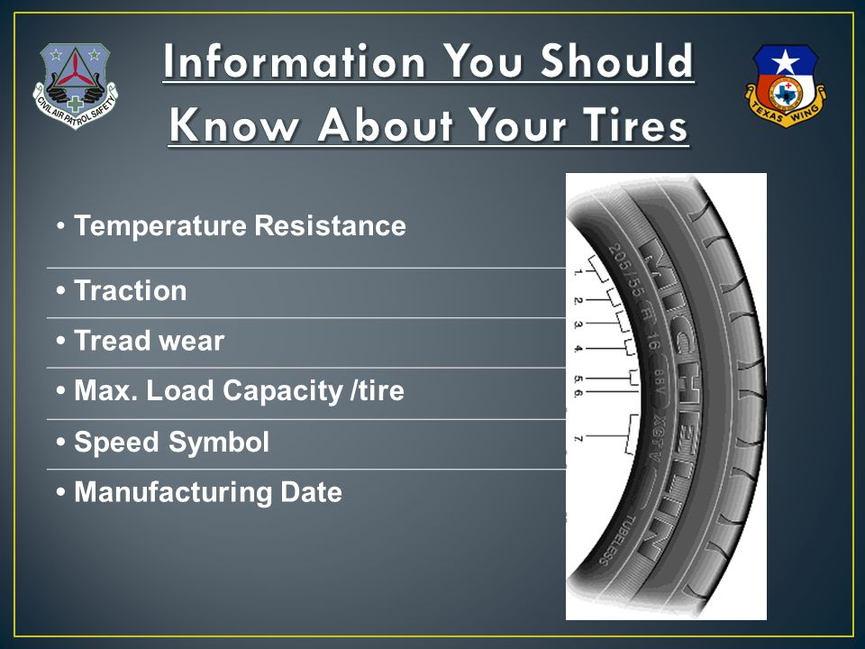 Temperature Resistance Traction Tread wear Max. Load Capacity /tire Speed Symbol Manufacturing Date