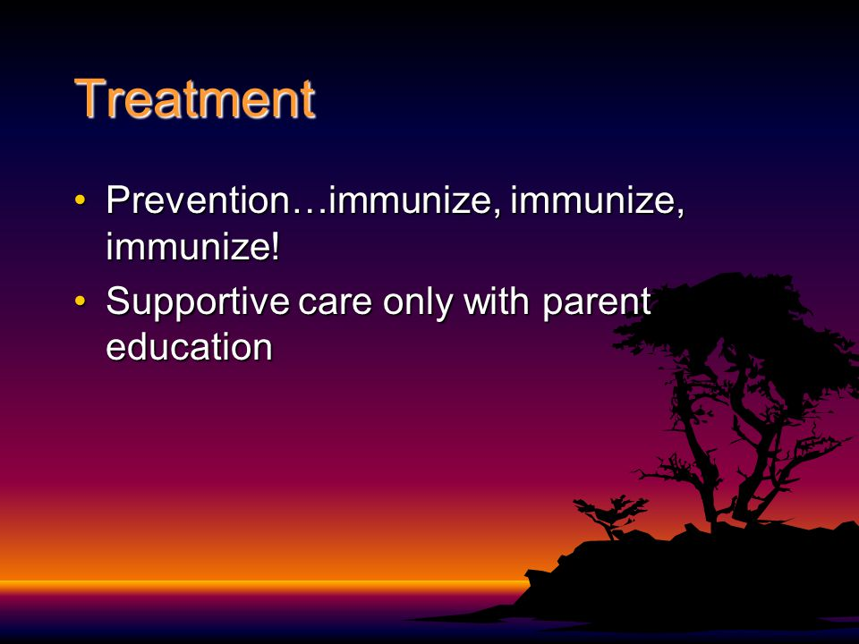 Treatment Prevention…immunize, immunize, immunize!Prevention…immunize, immunize, immunize! Supportive care only with parent educationSupportive care o