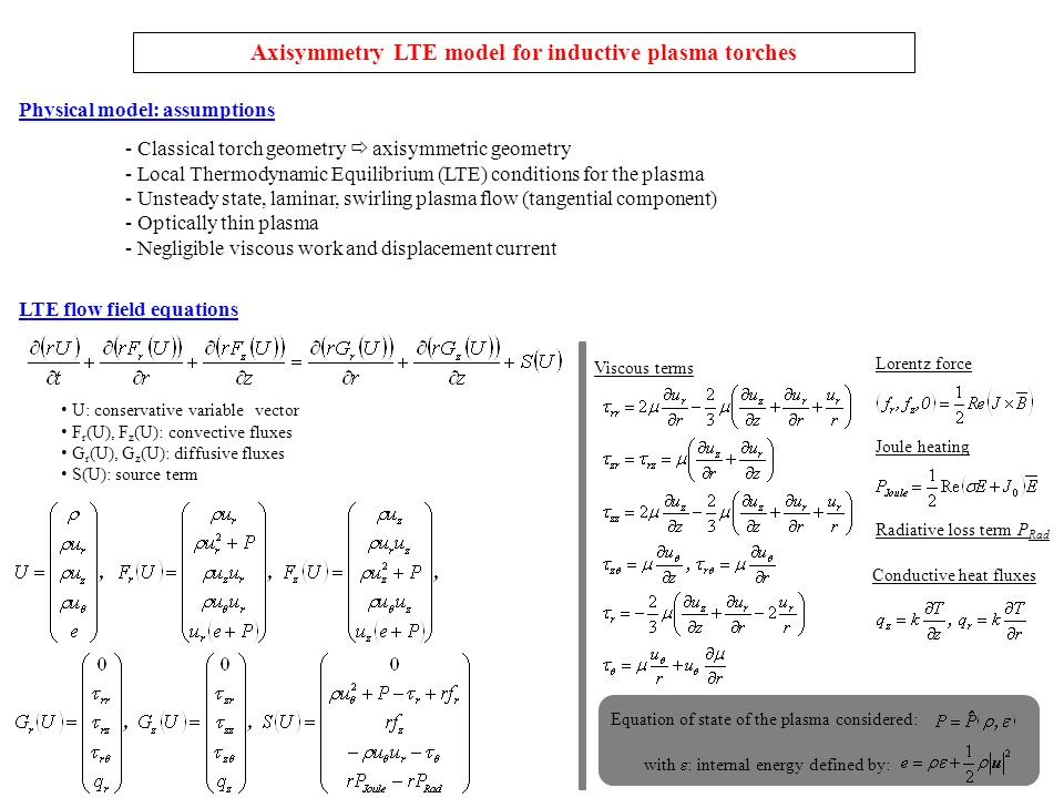 Axisymmetry LTE model for inductive plasma torches LTE flow field equations U: conservative variable vector F r (U), F z (U): convective fluxes G r (U), G z (U): diffusive fluxes S(U): source term Equation of state of the plasma considered: with  : internal energy defined by: Viscous terms Conductive heat fluxes Lorentz force Joule heating Radiative loss term P Rad Physical model: assumptions - Classical torch geometry  axisymmetric geometry - Local Thermodynamic Equilibrium (LTE) conditions for the plasma - Unsteady state, laminar, swirling plasma flow (tangential component) - Optically thin plasma - Negligible viscous work and displacement current