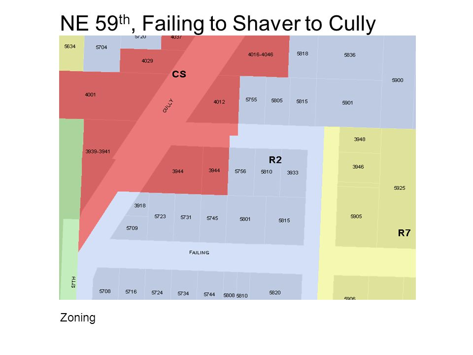 NE 59 th, Failing to Shaver to Cully Zoning