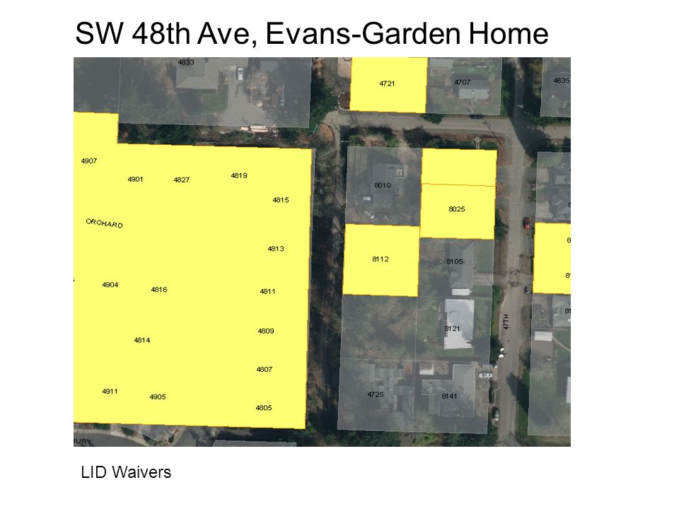 SW 48th Ave, Evans-Garden Home LID Waivers