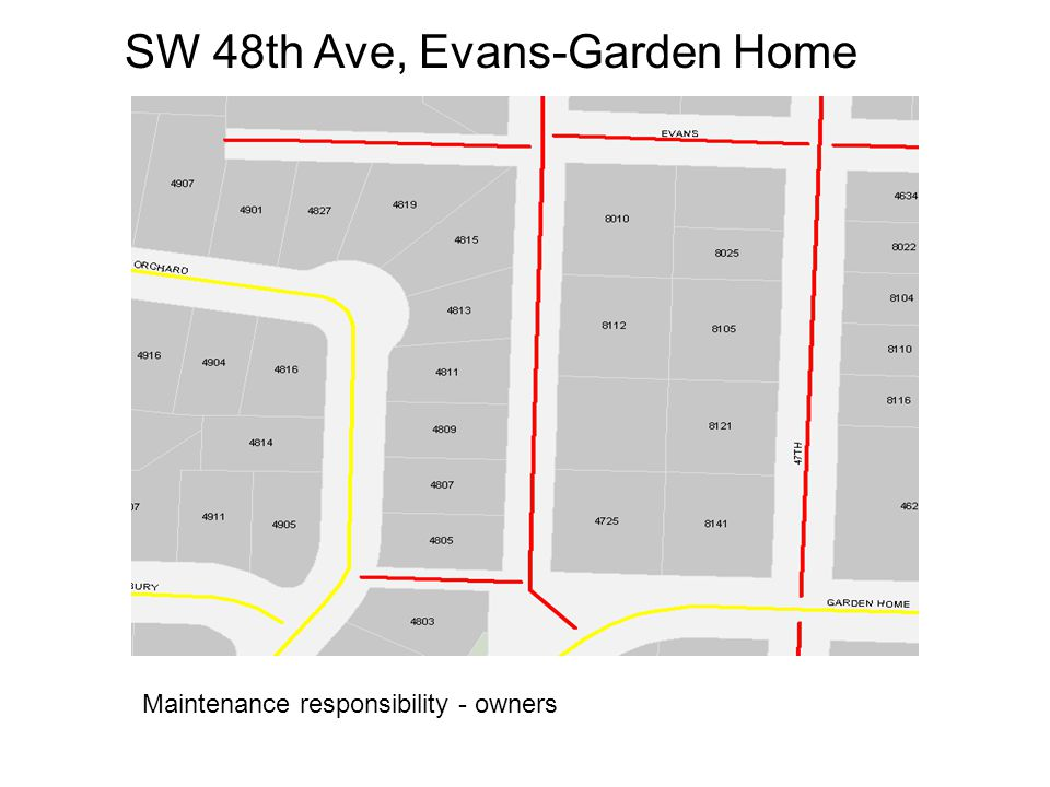 SW 48th Ave, Evans-Garden Home Maintenance responsibility - owners