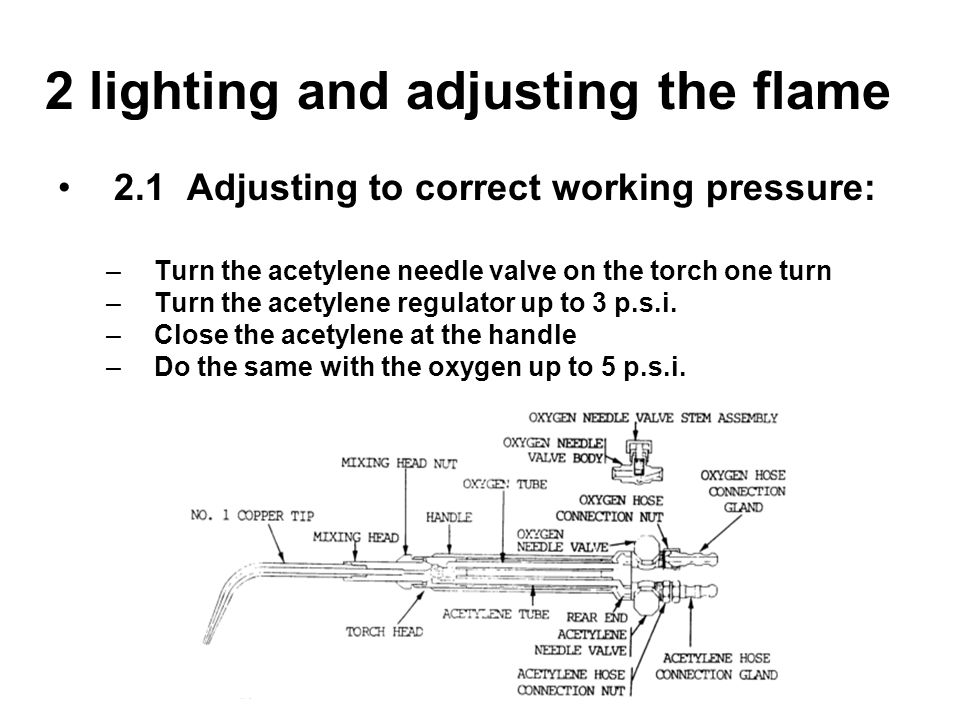 2 lighting and adjusting the flame 2.1 Adjusting to correct working pressure: –Turn the acetylene needle valve on the torch one turn –Turn the acetyle