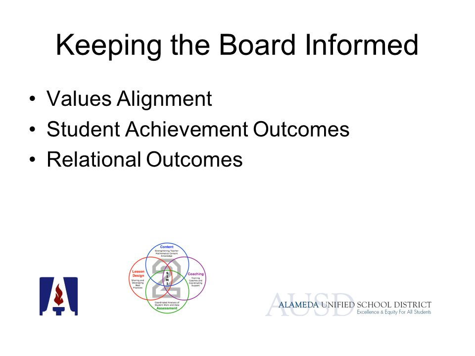 Keeping the Board Informed Values Alignment Student Achievement Outcomes Relational Outcomes