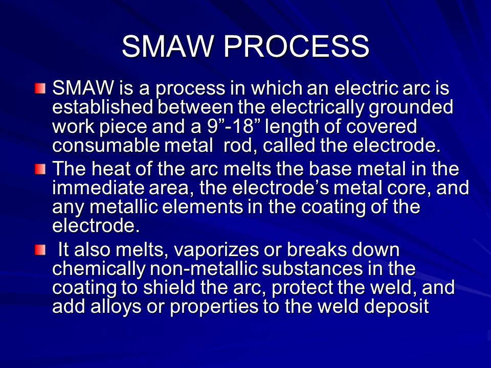 SMAW SMAW is the AWS name used by the American Welding Society for Shielded Metal Arc Welding. Stick is the most commonly used name for SMAW. This is