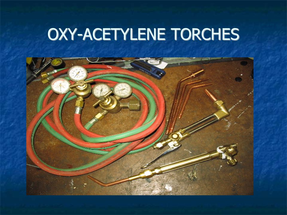 Oxygen and acetylene gauges for both tank and hose pressures should read 'ZERO'.
