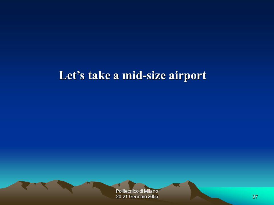 Politecnico di Milano 20-21 Gennaio 200527 Let's take a mid-size airport
