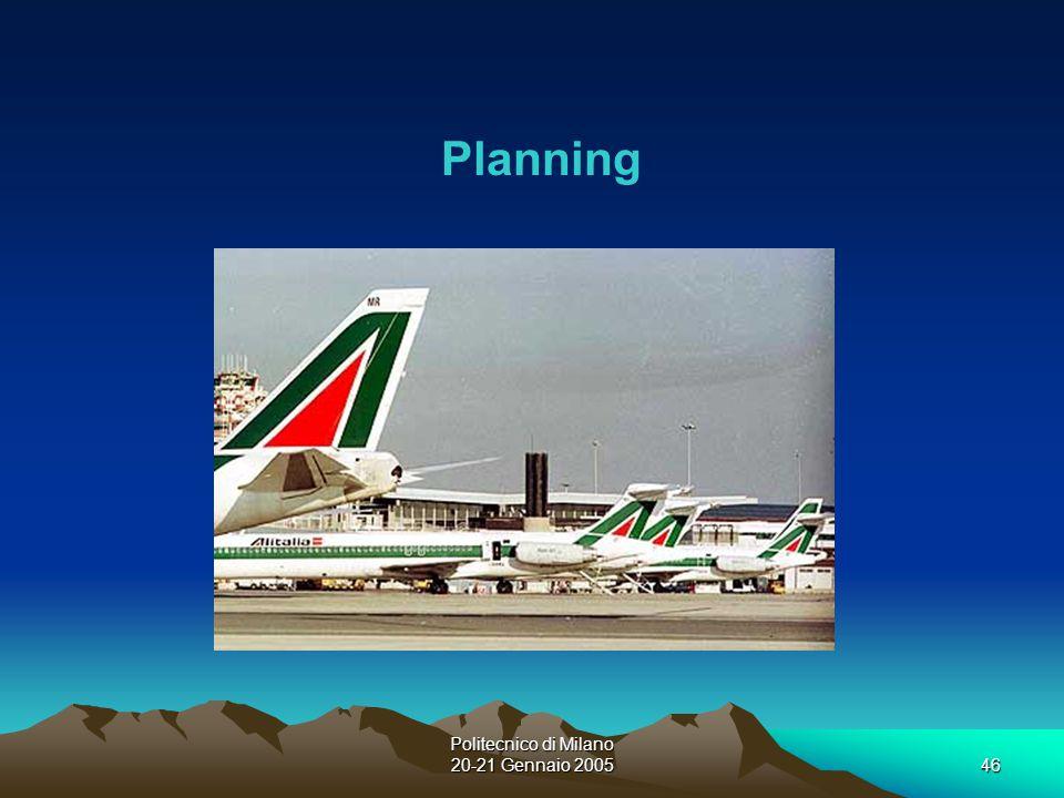 Politecnico di Milano 20-21 Gennaio 200546 Planning