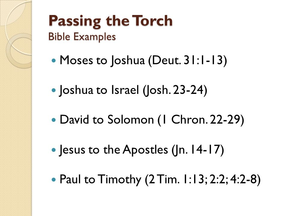 Passing the Torch Bible Examples Moses to Joshua (Deut.