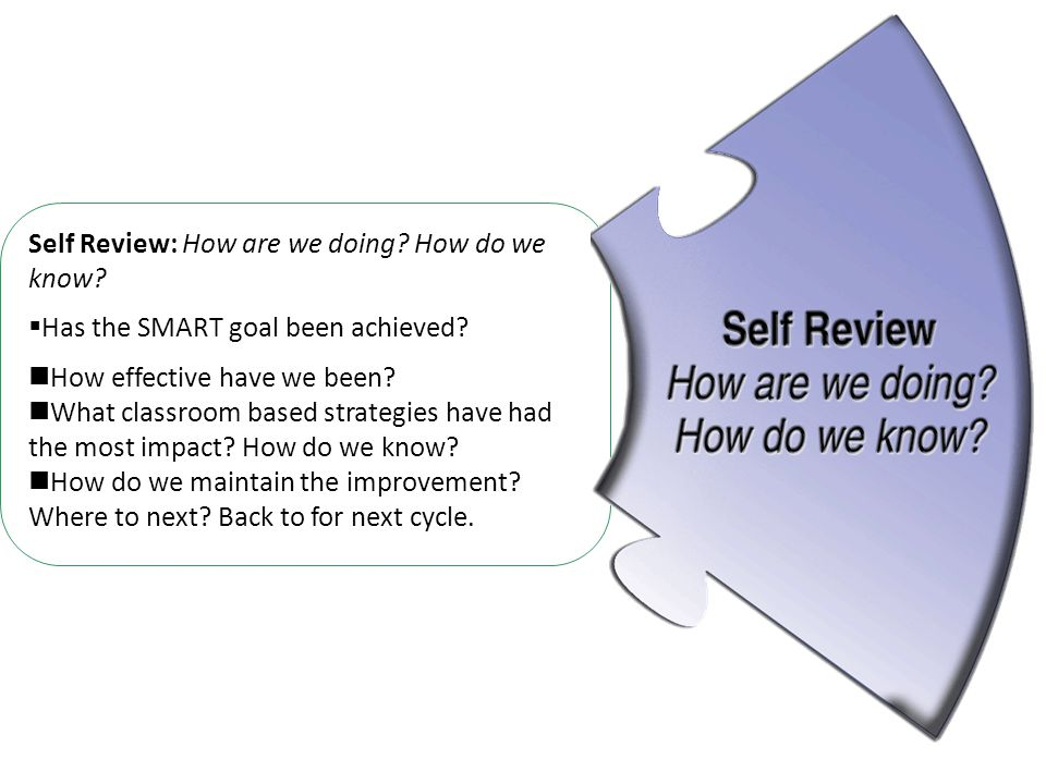 Self Review: How are we doing. How do we know.  Has the SMART goal been achieved.