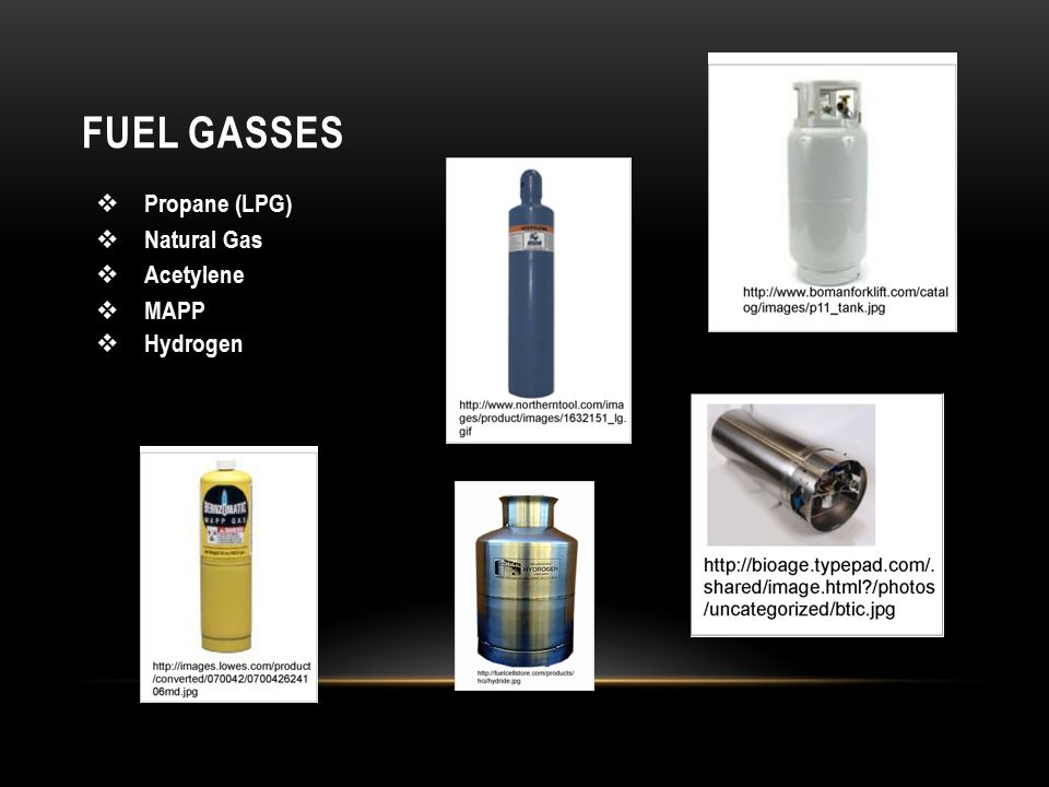 FUEL GASSES  Propane (LPG)  Natural Gas  Acetylene  MAPP  Hydrogen