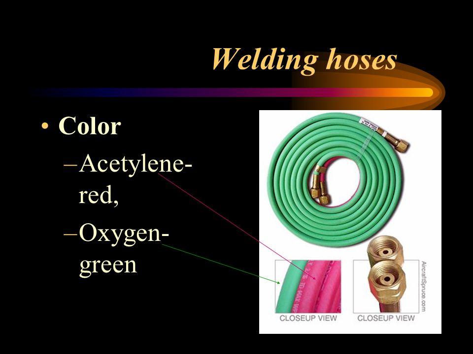 Welding hoses Color –Acetylene- red, –Oxygen- green