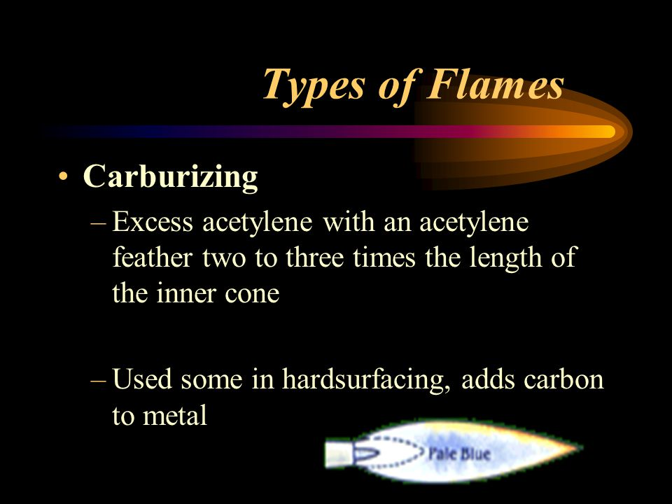Types of Flames Carburizing –Excess acetylene with an acetylene feather two to three times the length of the inner cone –Used some in hardsurfacing, a