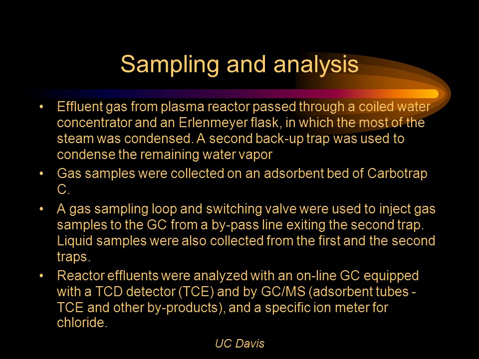 UC Davis Sampling and analysis Effluent gas from plasma reactor passed through a coiled water concentrator and an Erlenmeyer flask, in which the most of the steam was condensed.
