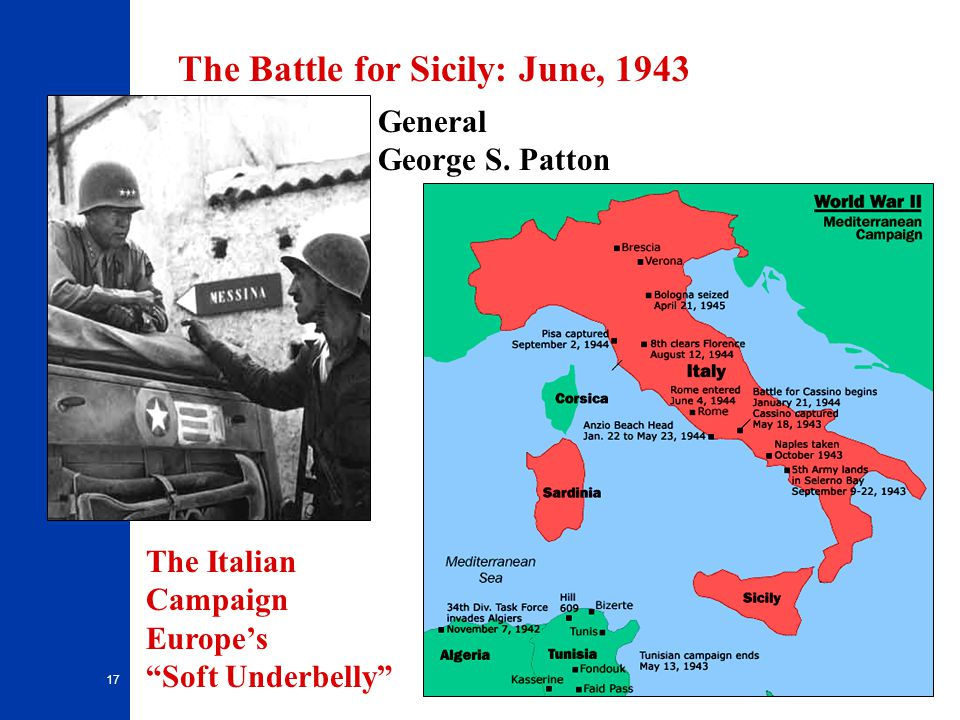 """17 General George S. Patton The Battle for Sicily: June, 1943 The Italian Campaign Europe's """"Soft Underbelly"""""""