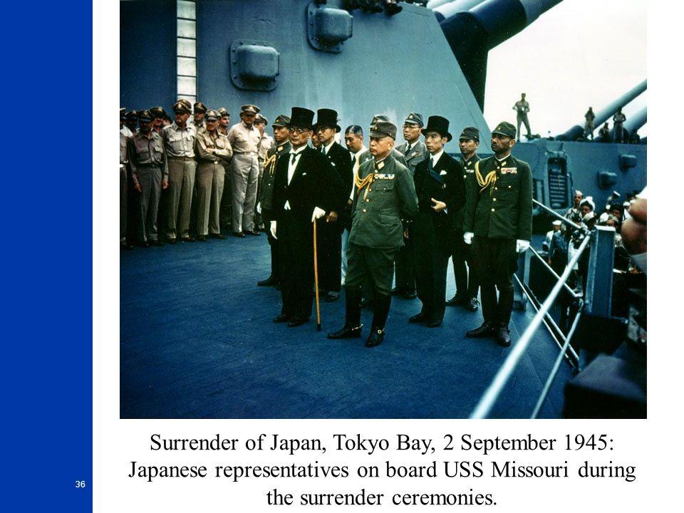 36 Surrender of Japan, Tokyo Bay, 2 September 1945: Japanese representatives on board USS Missouri during the surrender ceremonies.