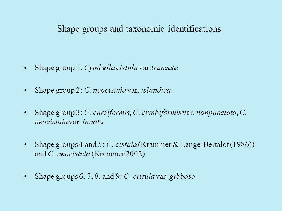 Shape groups and taxonomic identifications Shape group 1: Cymbella cistula var.truncata Shape group 2: C.