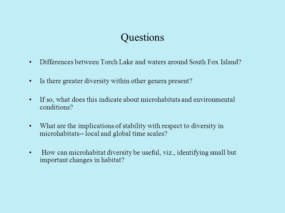 Questions Differences between Torch Lake and waters around South Fox Island.
