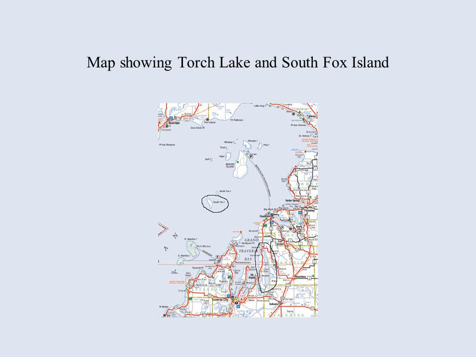 Map showing Torch Lake and South Fox Island