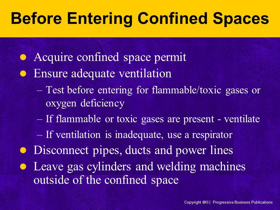 Copyright  Progressive Business Publications Before Entering Confined Spaces Acquire confined space permit Ensure adequate ventilation –Test bef