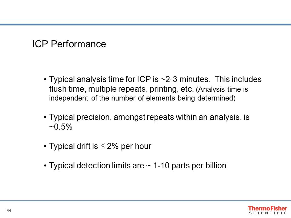 44 ICP Basics ICP Performance Typical analysis time for ICP is ~2-3 minutes. This includes flush time, multiple repeats, printing, etc. (Analysis time