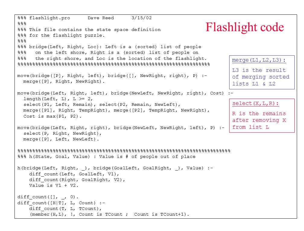 Flashlight code %% flashlight.pro Dave Reed 3/15/02 %% %% This file contains the state space definition %% for the flashlight puzzle. %% %% bridge(Lef