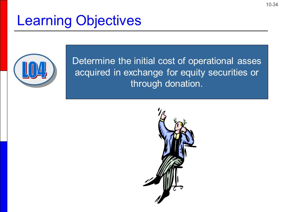 10-34 Learning Objectives Determine the initial cost of operational asses acquired in exchange for equity securities or through donation.